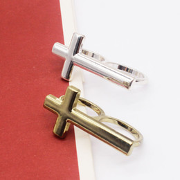 European style alloy fashion jewelry gold silver double cross polishing male double finger ring