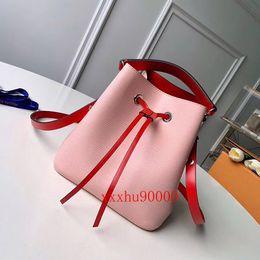High Quality small real leather lady drawstring bag famous designer Women shoulder Bag bucket bag 53609