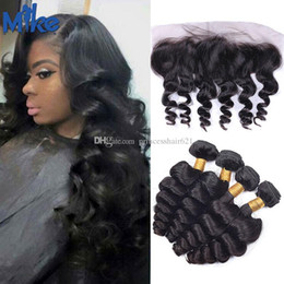 MikeHAIR Remy Brazilian Hair Weave with Frontals Ear to Ear Lace Frontal Closure with 4 Bundles Loose Wave Malaysian Human Hair 5Pcs lot