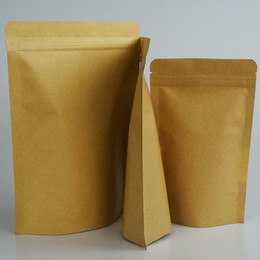 100pcs lot, Stand up pouches - Kraft paper bags inner aluminium foil zipper resealable, craft zip pouch,food storage bag Coffee Bean Doypack