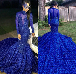 2019 Black Girls Mermaid Long Prom Dresses Royal Blue Long Sleeves 3d Floral Skirt Lace Applique Beaded Formal Party Evening Gowns BC0749