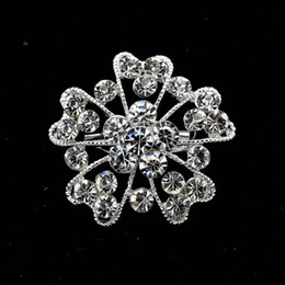 1.3 Inch Sparkly Silver Tone Small Flower Corsage Party Brooch Pins with Clear Rhinestone Crystals