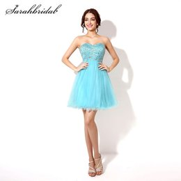Short Homecoming Prom Dresses Beaded Tulle Sweetheart Cheap Graduation Cocktail Party Gowns Back Lace Above Knee SD034