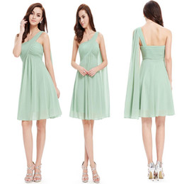 Cheap Country Bridesmaid Dresses 2020 One Shoulder Chiffon Coral Mint Green Beach Maid Of Honor Dress For Wedding Party Prom