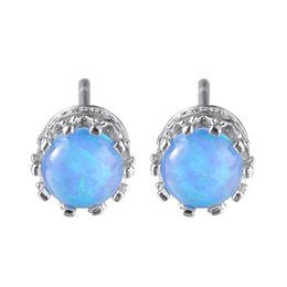Luckyshine 5 Pairs Holiday Gift Unique Fire Round Shaped Blue Opal 925 Sterling Silver Stud Earrings Vintage Wedding Party Earrings New