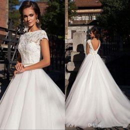 Cap Sleeves Lace Wedding Dresses with Beaded Sash 2019 Vintage Open Back Short Sleeves Plus Size Puffy Bridal Gowns