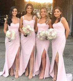 Classic Pink Front Side Split Mermaid Bridesmaid Dress Long 2020 Spaghetti Neck Covered Zipper Back Maid of Honor Gowns Customize
