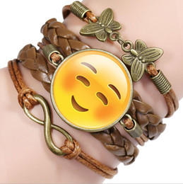 Funny Emoji New fashion jewelry Multilayer time gem bracelet children teenager Leather cord bracelet model no.NE953