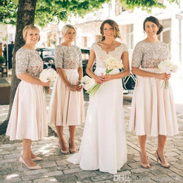2019 New Country Bridesmaid Dresses Short Sleeves Sequins Maid of Honor Dress Vintage Tea Length Prom Party Gowns