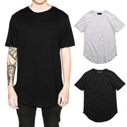Kanye West Solid T-Shirt Men Short Sleeve Curved Hem Hipster T-Shirt Hip Hop Streetwear Plain Tops DTI0606