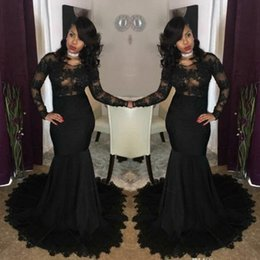 2019 Sexy Illusion African Black Prom Dresses Mermaid Jewel Neck Lace Appliques Long Sleeves Evening Gowns African Girls Party Wear BA7785