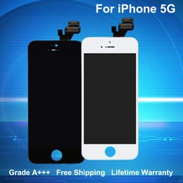 Wholesale Grade A+++ for iPhone 5 5G LCD Touch Screen Digitizer Full Aseembly Replacement Black & White with Lifetime Warranty