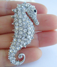 Lovely Sea Horse Brooch Pin w Clear Rhinestone Crystals EE02254C8