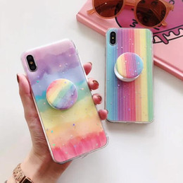Gradient Rainbow Phone Case For iPhone 11 Pro Max XR XS Max X 8 Plus Huawei Mate30 Soft Phone Back Cover with Kickstand