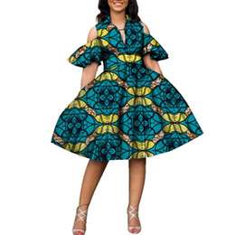 New 100% Cotton African Print Dresses for Women Bazin Riche Women V-neck  Knee Length Tutu Dress African Style Clothing WY2752 00a2a70b443a