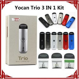100% Original Yocan Trio 3 IN 1 Starter Kit 500mAh Preheat Battery With 1.0ml Cartridge for Concentrate Wax Thick Oil Vape Pen