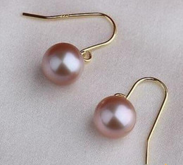 Charming A Pair 10-11mm South Sea Lavender Round Pearl Earrings 14k Gold