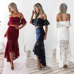 2019 Hot Selling Lace Two Pieces Prom Evening Dresses Elegant Off Shoulders Backless High Low Party Gowns 969