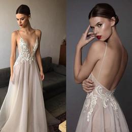 2020 New Ivory Berta Prom Dresses Deep V Neck Spaghetti Straps Embroidered Chiffon Backless Summer Illusion Long Evening Dresses