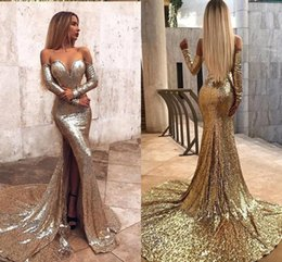 Sparkly 2019 New Cheap Mermaid Prom Dresses Off Shoulder Long Sleeves Court Train Vestido De Festa Dresses Evening Wear Gowns Vestidos