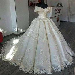 Luxury Full Lace Ball Gown Wedding Dresses 2019 Vintage Sheer Off-Shoulder Cap Sleeves Sweep Train Wedding Bridal Gowns