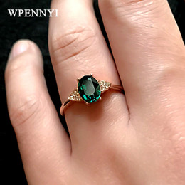 Rose Gold Color Dark Green Zirconia Crystal Erstwhile Memory Retro Design Woman Finger Rings Wholesale Mom Gift