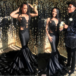 New Sexy Mermaid African Prom Dresses 2019 with Feather Sheer Lace Halter Black Girls Graduation Party Dress Evening Vestidos