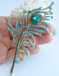 """4.92""""Pretty Peacock Feather Brooch Pin w Turquoise Rhinestone Crystals EE05860C2"""