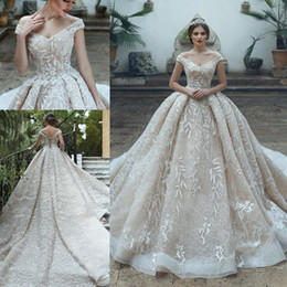 Arabic Saudi Princess Lace Wedding Dresses Elegant Off Shoulder Applique Lace Corset Ball Gown Bridal Gowns with Chapel Train