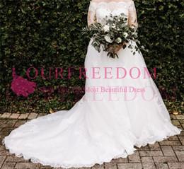 2019 Modest Long Sleeves Tulle Garden Wedding Dresses Off The Shoulder Lace Appliques Buttons Back Mariage Gown Vestido De Noiva
