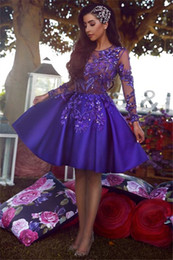 Royal Blue Short Cocktail Dresses Long Sleeves Appliqued Formal Evening Gowns Party Dresses For Special Occasion Prom Gown
