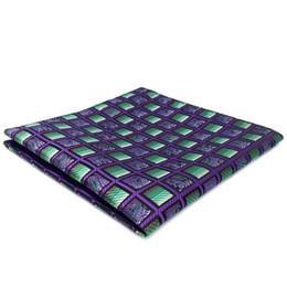 AH10 Purple Green Checkes Silk Brand New Fashion Classic Pocket Square Mens Hankies