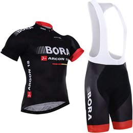 2016 BORA ARGON 18 Pro TEAM BLACK RED Short Sleeve Cycling Jersey Bike Bicycle Wear +BIB Shorts Size XS-4XL