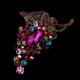 4 Inch Extra Large Grape Shaped Multicolored Rhinestone Crystal Diamante Brooch with Teardrop Shaped Crystal