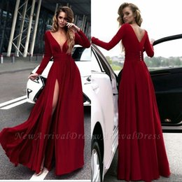 2019 Elegant Red Long Prom Dresses Long Sleeve V Neck Floor Length Backless Evening Gowns Formal Women Special Occasion Party Dresses