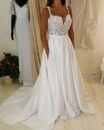 Boho Wedding Dresses 2019 robe de mariee Spaghetti Straps Bead Lace Chiffon Beach Wedding Dress Bridal Gowns vestidos de noiva Cheap Gown