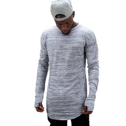 Men Hipster Hip Hop Long Sleeve T-Shirt With Thumb Hole Spring Autumn Essentials Undershirt Men Gray Pink Cotton Casual Tee DTI0610