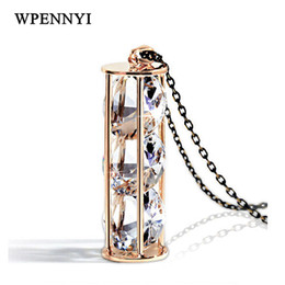 Super Shiny Top Quality 3 pcs Clear Round Cubic Zirconia Inside Real Me Style Long Pendant Necklace Sweater Chain Wholesale