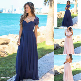 New Arrival country Navy Blue Long Bridesmaid Dresses Lace Cap Short Sleeves Chiffon Hollow Back Cheap Wedding Maid Of Honor Gowns BM0151
