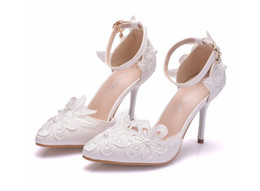 9cm sandals white lace flower wedding shoes one word wristband thin heel pointed wedding dress women sandals auto show shoes