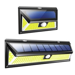 Edison 2011 74 180 LED Solar Power Motion Sensor Light COB 2 Modes Outdoor Garden Yard Waterproof Energy Saving Pathway Solar Wall Lamp