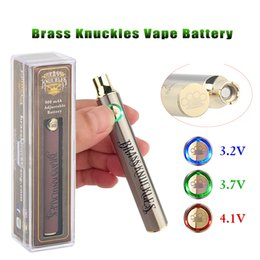 Brass Knuckles Cartridge Battery 650mAh 900mAh Silver Gold Wood Vape Pen Preheat VV Variable Voltage For 510 KP BK Smart Carts Thick Oil