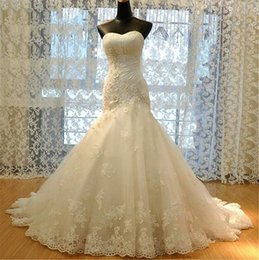 Vestido de Noiva 2020 Vintage Appliqued Lace Mermaid Wedding Dresses Sexy Sweetheart Trumpet Wedding Gowns Lace Up Back Long Bridal Dresses