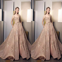 Ziad Nakad Sequined Prom Dresses Scoop Neckline Formal Gowns Appliqued Floor Length Tulle Party Dress For Women