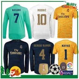 19 20 Real Madrid Soccer Jersey 2019 2020 HAZARD Home KROOS ISCO Modric Football uniform Adult man Goalkeeper Soccer shirt Long sleeve