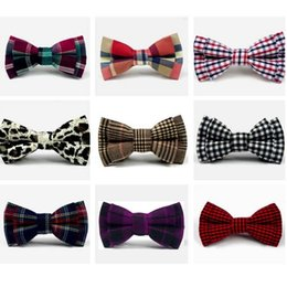 finest children bow tie cotton safety pin plaid kid pet dog butterfly checks 9 * 5 cm bowknot Decorated Neckwear 2pcs lot