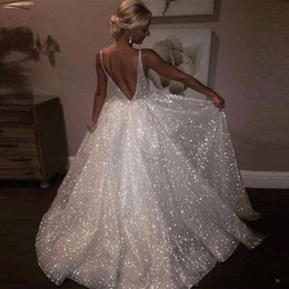 2019 Wholesale White Sparkle Sequin Evening Dresses Deep V Neck Sexy Low Back Long Prom Dress Cheap Pageant Gowns Special Occasion Wear