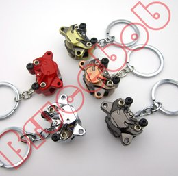 5 colors Zinc alloy motorcycle Car modification Disc brake Piston calipers keychain keyring key chain ring buckles