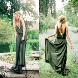 Bohemian Beach Olive Green Chiffon Country Bridesmaid Dresses 2019 New Cheap Sexy Spaghetti Backless Long Maid Of Honor Gowns Boho BA8386