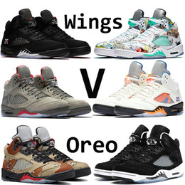 Hight Quality 5s Classic 5 basketball shoes white cement black metallic red blue suede black Grape Oreo sneakers for men designer shoes